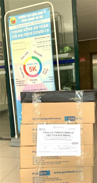 Trường Cao đẳng Kinh tế Công nghiệp Hà Nội tiếp nhận quà tặng phòng chống dịch Covid -19 từ Công ty TNHH LG DISPLAY Việt Nam Hải Phòng