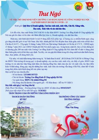 Thư ngỏ về việc hỗ trợ sinh viên Trường Cao đẳng Kinh tế Công nghiệp Hà Nội gặp khó khăn do dịch Covid-19